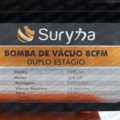 Bomba de Vácuo 8 Cfm Duplo Estágio Bivolt Suryha