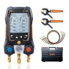 Manifold Digital 2 Vias 3 Mangueiras e 2 Termômetros Pinça App c/ Maleta Testo 550S Smart Kit