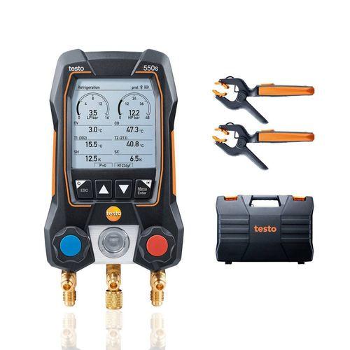 Manifold Digital 2 Vias e 2 Termômetros Pinça App c/ Maleta Testo 550S Smart Kit